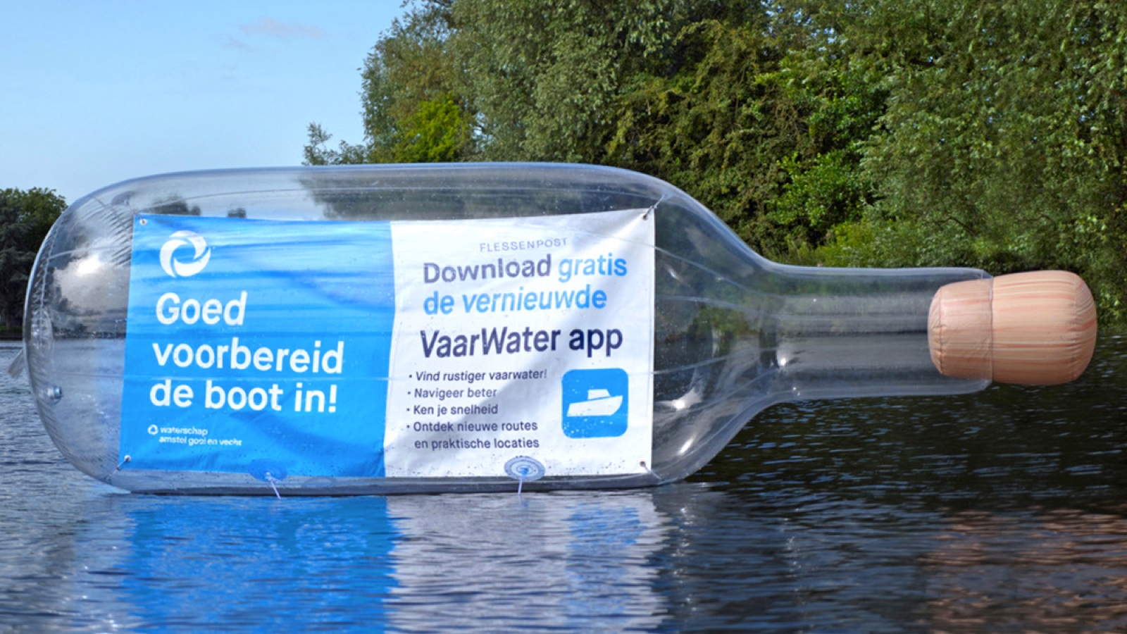 Opblaasbare fles - inflatable bottle - flessnepost activatie - waternet - Publi air