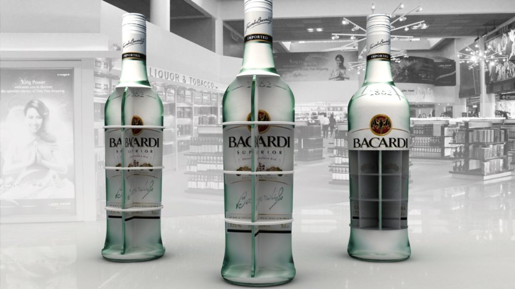Displays - instore custo made display shelf Publi air for Bacardi