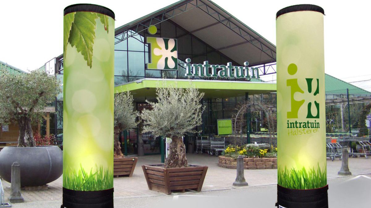Fabulous inflatable pillars pillars and banner publi air for Intratuin elst