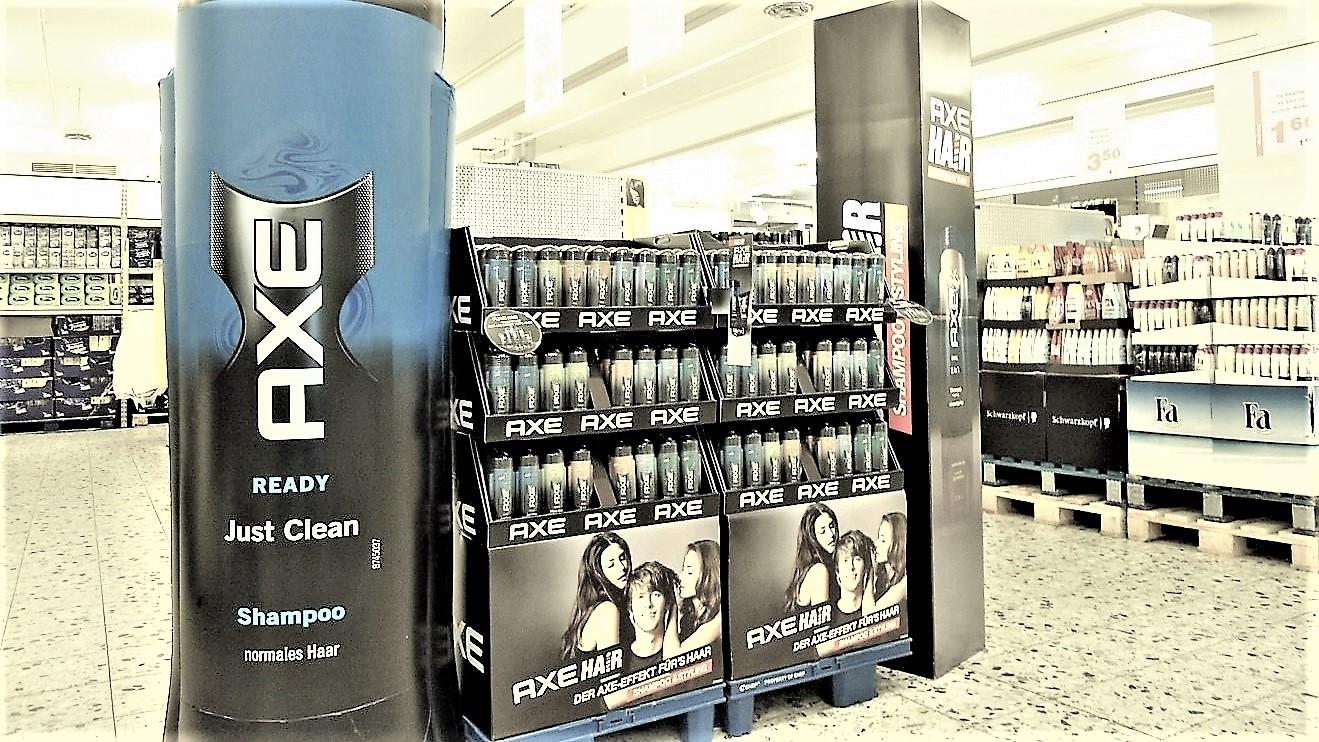 Opblaasbare Displays – Publi air instore inflatable display AXE – POS – Retail – Deo – reclame