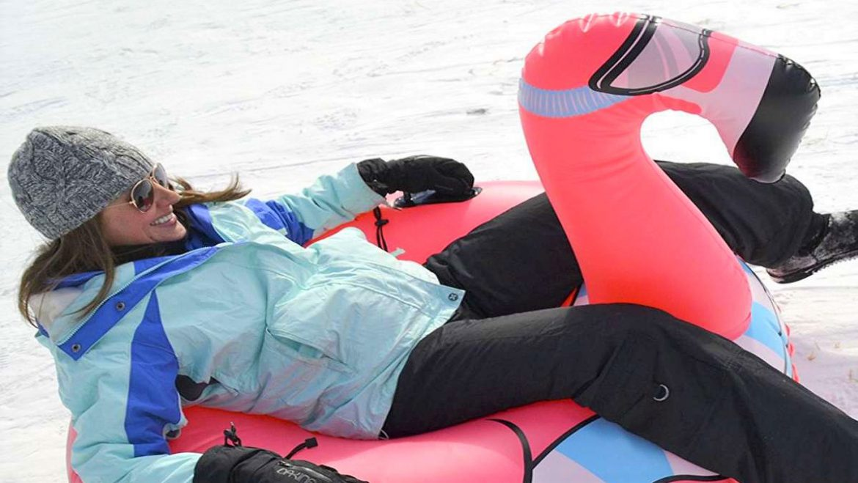 flamingo -airboard - inflatable - band- snow - winter- sleigh publi air - opblaasbaar - sneeuw - snow fun - premium