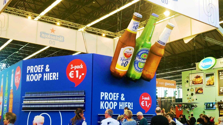 opblaasbare flessen - Heineken Amstel en Brand bier 00 - Huishoudbeurs